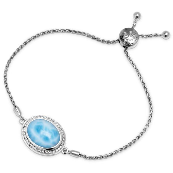 MarahLago Radiance Round Larimar Bracelet with White Sapphire