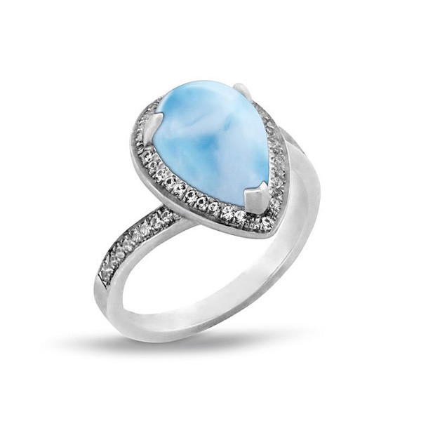 MarahLago Radiance Larimar Pear Ring with White Sapphire