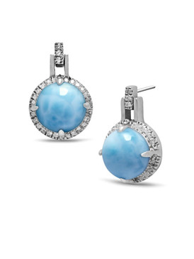 MarahLago Radiance Round Larimar Earrings  - 3x4