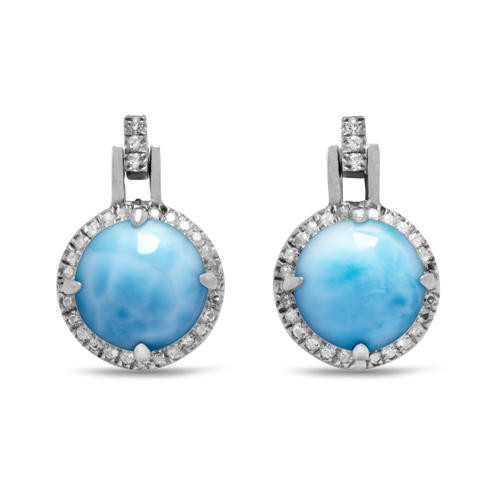 MarahLago Radiance Round Larimar Earrings with White Sapphire