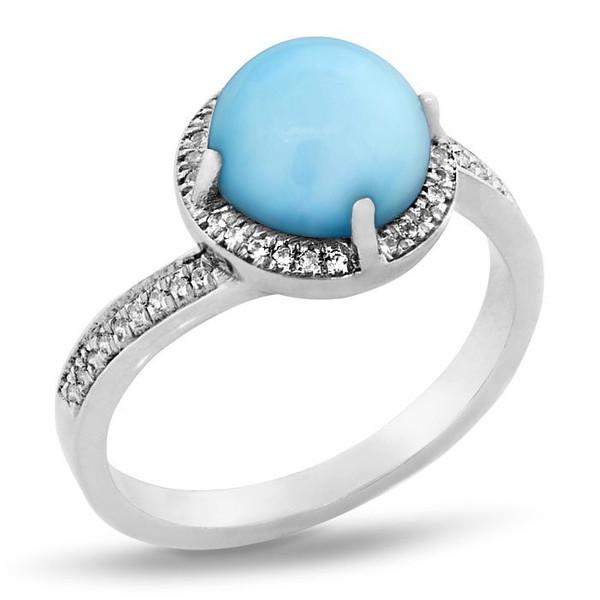 MarahLago Radiance Round Larimar Ring with White Sapphire
