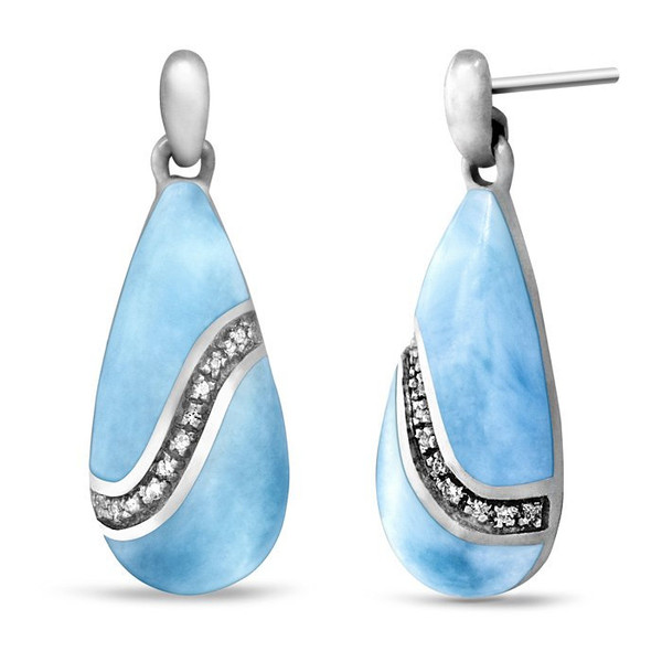 MarahLago Brook Larimar Earrings with White Sapphire