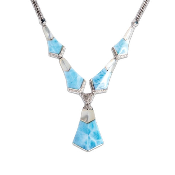 MarahLago Calder Larimar Necklace with White Sapphire & Mother-of-Pearl