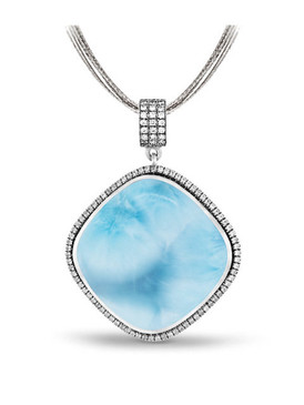 MarahLago Clarity Cushion Large Larimar Necklace - 3x4