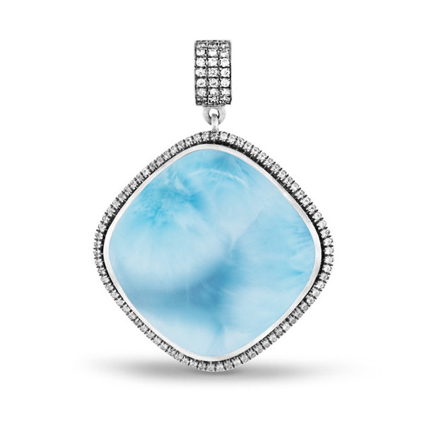 MarahLago Clarity Cushion Large Larimar Necklace with White Sapphire