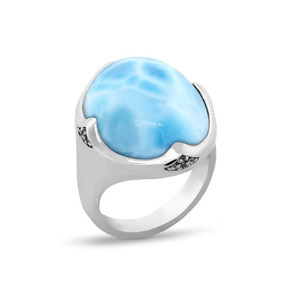 MarahLago Cocktail Larimar Ring with White Sapphire