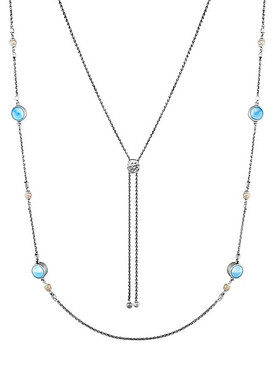 MarahLago Hideaway Larimar Necklace with Freshwater Pearl - 3x4