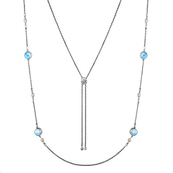 MarahLago Hideaway Larimar Necklace with Freshwater Pearl