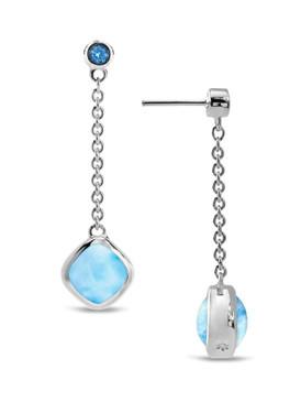 MarahLago Hideaway Larimar Earrings with Blue Spinel - 3x4