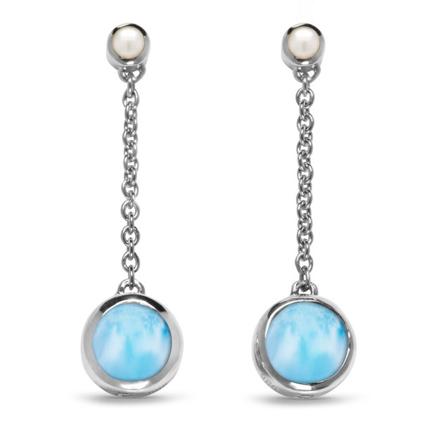 MarahLago Hideaway Larimar Earrings with Freshwater Pearl