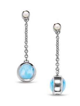 MarahLago Hideaway Larimar Earrings with Freshwater Pearl - 3x4