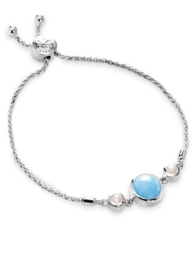 MarahLago Hideaway Larimar Bracelet with Freshwater Pearl - 3x4