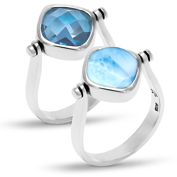 MarahLago Hideaway Larimar Ring with Blue Spinel