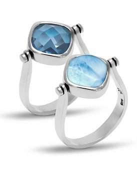 MarahLago Hideaway Larimar Ring with Blue Spinel - 3x4