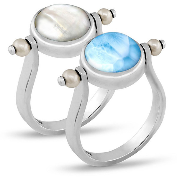 MarahLago Hideaway Larimar Ring with Freshwater Pearl