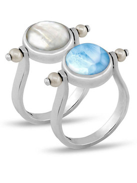 MarahLago Hideaway Larimar Ring with Freshwater Pearl - 3x4