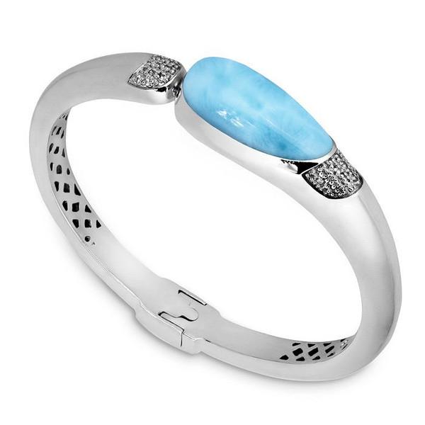 MarahLago Lucia Larimar Bangle Bracelet with White Sapphire