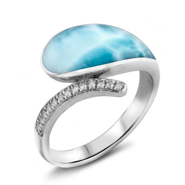 MarahLago Lucia Larimar Ring with White Sapphire