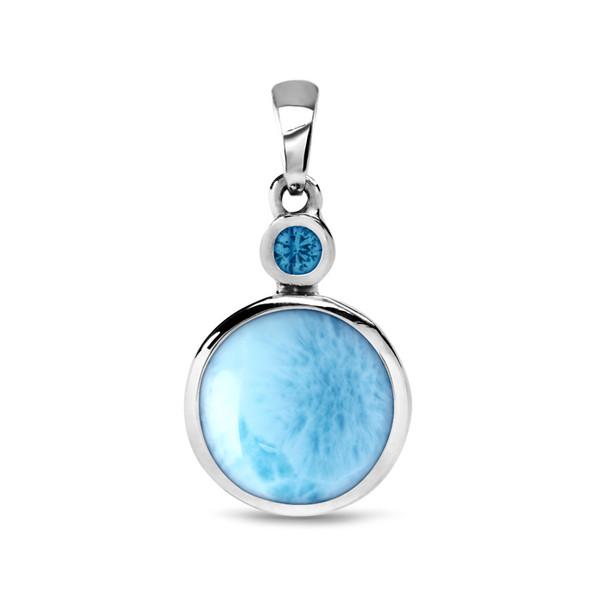 MarahLago Splash Larimar Pendant/Necklace with Blue Spinel