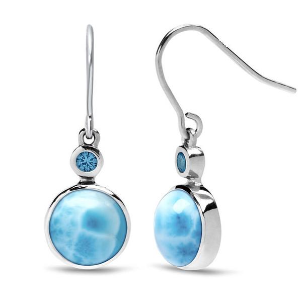 MarahLago Splash Larimar Earrings with Blue Spinel