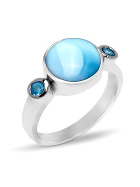 MarahLago Splash Larimar Ring with Blue Spinel - 3x4
