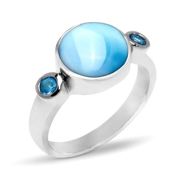 MarahLago Splash Larimar Ring with Blue Spinel