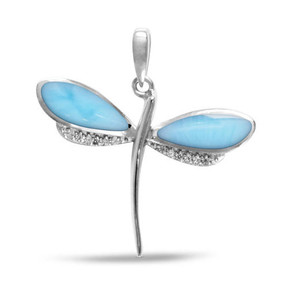 MarahLago Larimar Dragonfly Petite Pendant/Necklace with White Sapphire