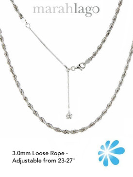 MarahLago Sterling Silver Loose Rope Chain - 3mm