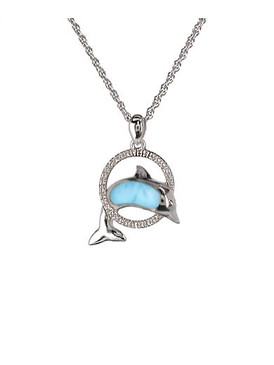 MarahLago Dolphin Larimar Necklace with White Sapphire