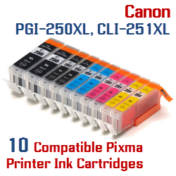 Quick 10- Includes: 2- PGI-250XLBK Black, 2- CLI-251XLBK Black, 2- CLI-251XLC Cyan, 2- CLI-251XLM Magenta, 2- CLI-251XLY Yellow Compatible Canon Pixma printer ink cartridges