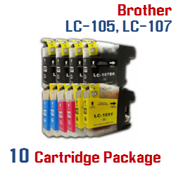 Brother LC-105XXL, LC-107XXL 10 Cartridge Package Compatible Printer Ink Cartridges