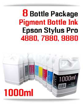 8 Bottles Pigment Ink Epson Stylus Pro Printers 1000ml