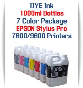 7 Color Package Dye Bottle Ink  1000ml each Color Epson Stylus Pro 7600, 9600 Printers