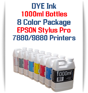 8 Color Package 1000ml each Color Photographic Dye Ink Epson Stylus Pro 7880, 9880 Printers