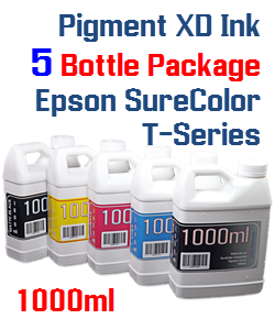 5 Bottle Package Epson SureColor T-Series Compatible Pigment XD Bottle Ink