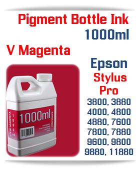 Vivid Magenta Epson Stylus Pro Printers Compatible UltraChrome Pigment Ink 1000ml Bottle