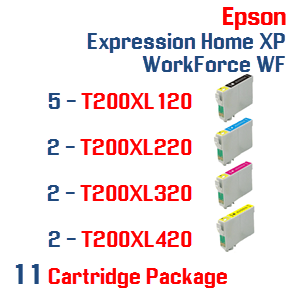 11 Cartridges- 5-T200XL120 Black,  2-T200XL220 Cyan, 2-T200XL320 Magenta, 2-T200XL420 Yellow Compatible Pigment Ink Cartridges