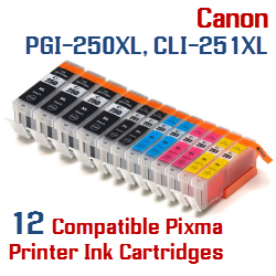 Quick 12- Includes: 4- PGI-250XLBK Black, 2- CLI-251XLBK Black, 2- CLI-251XLC Cyan, 2- CLI-251XLM Magenta, 2- CLI-251XLY Yellow Compatible Canon Pixma printer ink cartridges