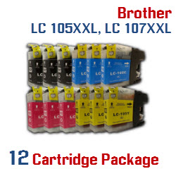 Brother LC-105XXL, LC-107XXL 12 Cartridge Package Compatible Printer Ink Cartridges