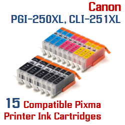 Quick 15- Includes: 3- PGI-250XLBK Black, 3- CLI-251XLBK Black, 3- CLI-251XLC Cyan, 3- CLI-251XLM Magenta, 3- CLI-251XLY Yellow Compatible Canon Pixma printer ink cartridges