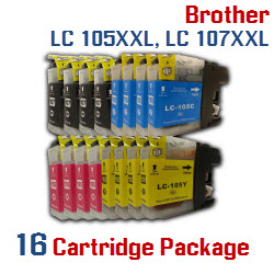 Brother LC-105XXL, LC-107XXL 16 Cartridge Package Compatible Printer Ink Cartridges