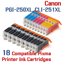 Quick 18- Includes: 6- PGI-250XLBK Black, 3- CLI-251XLBK Black, 3- CLI-251XLC Cyan, 3- CLI-251XLM Magenta, 3- CLI-251XLY Yellow Compatible Canon Pixma printer ink cartridges