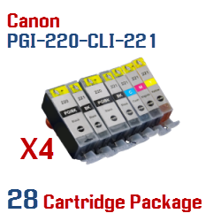 28- Includes: 8- PGI-220BK Black, 8- CLI-221BK Black, 4- CLI-221C Cyan, 4- CLI-221M Magenta, 4- CLI-221Y Yellow Compatible Canon Pixma printer ink cartridges