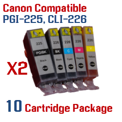 10 Cartridge Package Includes: 2- PGI-225BK Black, 2- CLI-226BK Black, 2- CLI-226C Cyan, 2- CLI-226M Magenta, 2- CLI-226Y Yellow Compatible Canon Pixma printer ink cartridges - click here -