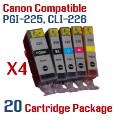 20 Cartridge Package Includes: 4- PGI-225BK Black, 4- CLI-226BK Black, 4- CLI-226C Cyan, 4- CLI-226M Magenta, 4- CLI-226Y Yellow Compatible Canon Pixma printer ink cartridges - click here -