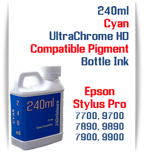 Cyan 240ml Bottle Compatible UltraChrome HDR Pigment Ink Epson Stylus Pro Printers