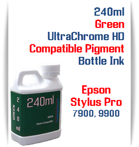 Green 240ml Bottle Compatible UltraChrome HDR Pigment Ink Epson Stylus Pro Printers