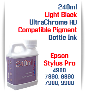 Light Black 240ml Bottle Compatible UltraChrome HDR Pigment Ink Epson Stylus Pro Printers