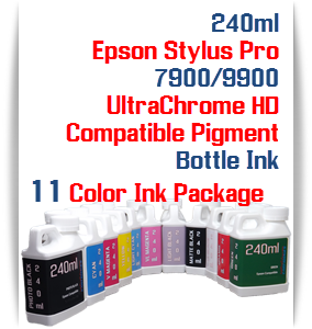 11 240ml Bottle Compatible UltraChrome HD Pigment Ink Epson Stylus Pro 7900, 9900 Printers