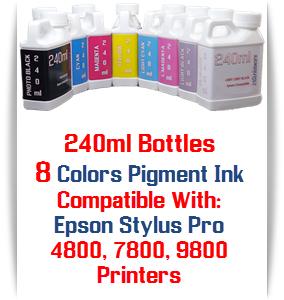8 240ml Bottles Pigment Ink Package, Epson Stylus Pro 4800, 7800, 9800 printers